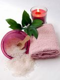 Spa 2. Relaxing spa with salt and candles royalty free stock photo