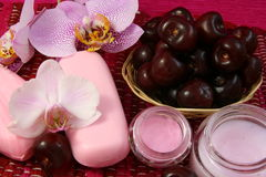 Spa. Soap and Lotion for the body with cherry and orchid Stock Images