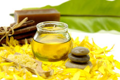 Spa. Image of spa therapy on yellow flower plants background Stock Photo
