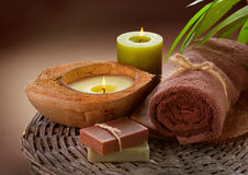 Spa. Treatments over Brown. Close-up image Stock Photo