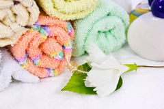 Spa. A macro shot of rolls of towels in a spa Stock Images