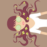 SPA. A pretty girl doing eye care mask stock illustration