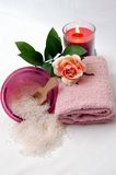 Spa 3. Relaxing spa with roses and candles royalty free stock photos