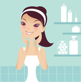 Spa. A pretty girl doing spa at home Royalty Free Stock Images