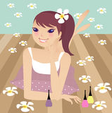 Spa. A pretty girl doing spa at home royalty free illustration