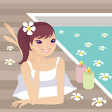 Spa. A pretty girl doing spa at home vector illustration