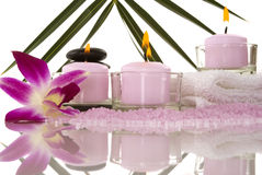 Spa. Orchids, towel, candles, pebbles and aromatic bath salt in a spa Stock Photography