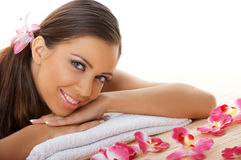 Daily Spa. Portrait of beautiful woman before spa treatment Stock Photo