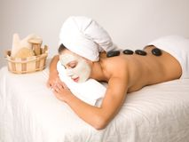 Daily Spa. Portrait of beautiful woman during spa treatment Royalty Free Stock Photo