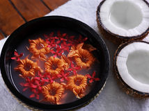 Spa. Objects coconuts towel flowers Stock Photo