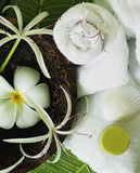 Spa. Objects close-up towels flowers Stock Photo