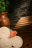 Spa. Bathroom with towels and aromatic flowers Stock Images