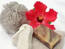 Spa accessories. Bath products used to aid relaxation and tranquility Stock Images