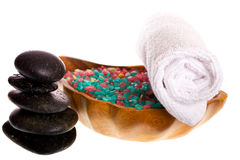Spa accessories. Isolated on the white background Royalty Free Stock Images