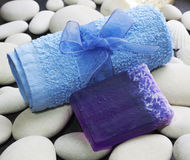 Spa accessories. Spa soap and spa towel Stock Images