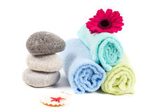 Spa accessories. Studio shot of spa accessories, isolated on white Stock Image
