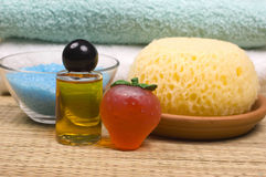 Spa accessories. Sponge, towels, shower gel, massage oil and bath salt  - spa accessories Stock Photo