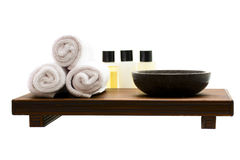 Spa accessories. Isolated on the white background Stock Photo