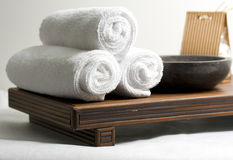Spa accessories. On the white background Stock Images