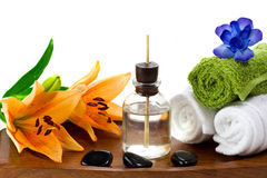 Spa accessories with aroma oils Stock Photos