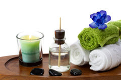 Spa accessories with aroma oils Stock Photography