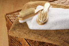 SPA accessories on basket Stock Image