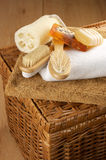 SPA accessories on basket. Various SPA accessories on wicker basket Stock Photos