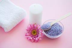 Spa Accessories. Bath Salt Beauty Treatment on Pink Background. Spa Accessories. Bath Salt Beauty Treatment on Pink Background Royalty Free Stock Photos