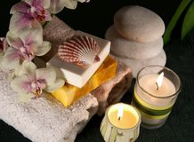 Spa accessories with candles Stock Photos