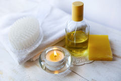 Spa accessories  and candles on white background Stock Photos