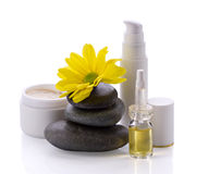 Spa accessories, cosmetic products and flower Royalty Free Stock Images