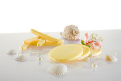 Spa accessories: cosmetic sponges Royalty Free Stock Photography
