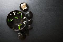 Spa accessories on dark background stock image