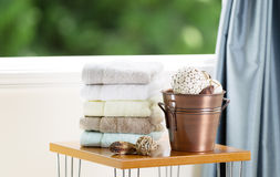 Spa accessories in front of Open Window Royalty Free Stock Photography