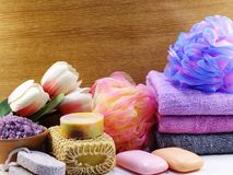 Spa accessories with fruit soap and shower cream bathroom products. Hygiene cleansing spa accessories with Shampoo soap and shower cream bathroom products Royalty Free Stock Images
