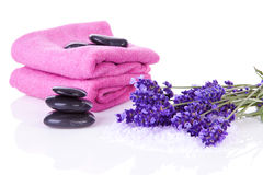 Spa accessories and lavender Royalty Free Stock Images