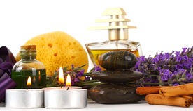 Spa accessories and lavender Stock Images