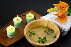 Spa accessories with lily flower Stock Photos