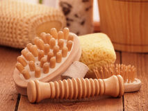 Spa accessories made of natural materials Royalty Free Stock Image