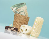 Spa Accessories On Blue Background Stock Photo