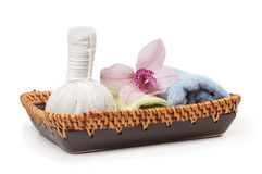 Spa accessories on the plate Stock Images