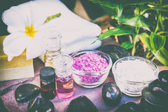 Spa accessories, Rolled towel, pampering stuff Royalty Free Stock Photo
