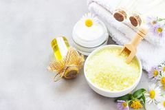Spa accessories - sea salts, towel and essential oil stock photo