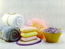 Spa accessories with Shampoo soap and shower cream bathroom products. Hygiene cleansing spa accessories with Shampoo soap and shower cream bathroom products Stock Image