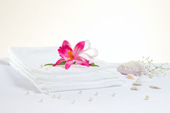 Spa accessories: sheet and sea salt Royalty Free Stock Photos