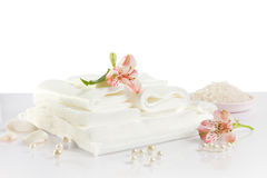 Spa accessories: sheet, towels and sea salt Royalty Free Stock Photos
