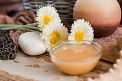 Spa accessories with soap, bowl with dried chamomile flowers, A piece of white soap, liquid brown soap, seashell shell, aromathera stock images