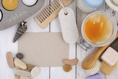 Spa accessories with space for text.  Royalty Free Stock Photography