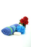 Spa accessories, towel,sopa and flower shower stock photo