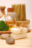 SPA accessories for wellness or relaxing. Accessories for wellness, spa or relaxing bath and Bottle with aromatic oil-Soap and accessory of weakening and Stock Photography